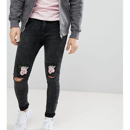 96e68509ea3b Liquor N Poker Skinny Jeans With Love Rose Embroidered Knee Rips - Black