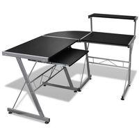 biurko komputerowe duże z ruchomą półką na klawiaturę (czarne) marki Vidaxl
