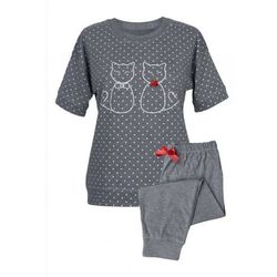 ! piżama damska 3/4 - dwa koty kr. szary marki Muzzy