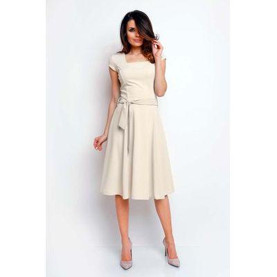 57e8feef2046c3 Beżowa Wyjściowa Rozkloszowana Sukienka z Dekoltem Karo, w 5 rozmiarach  MOLLY