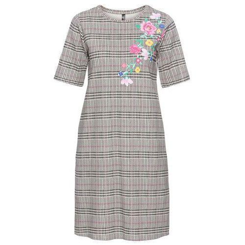 7c8446cccb Zobacz ofertę Bonprix Sukienka shirtowa w kwiaty czarno-biel wełny w kratę