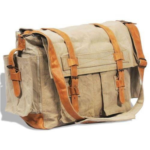 674596d49a28e ▷ Płócienno-skórzana torba listonoszka na ramię