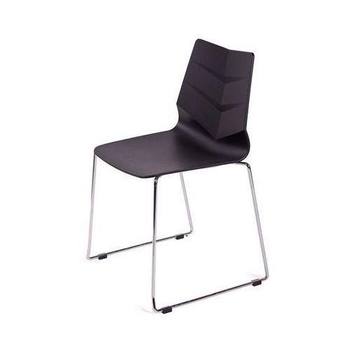 OUTLET Krzesło SHARK czarne, płozy - polipropylen, podstawa metalowa chrom, LEAF02.CZARNY (7812116)