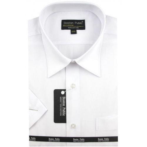 Boston public Koszula męska gładka biała na krótki rękaw k541