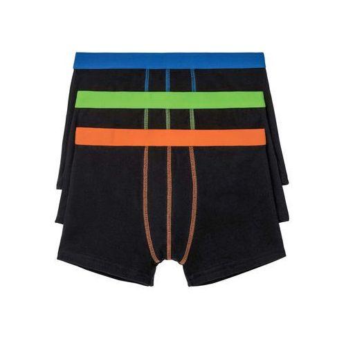 Bokserki (3 pary) bonprix czarno-niebiesko-zielono-pomarańczowy, kolor czarny