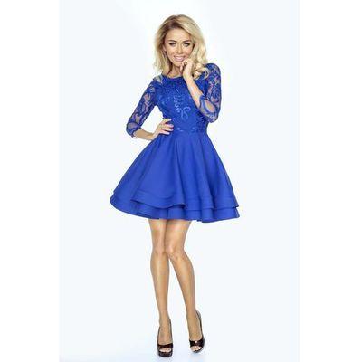 c52e1ca6a9ce15 suknie sukienki chabrowa sukienka z gipiury niebieska sukienka midi ...