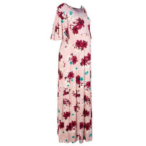 Długa sukienka shirtowa ciążowa bonprix jasnoróżowy w kwiaty, w 8 rozmiarach