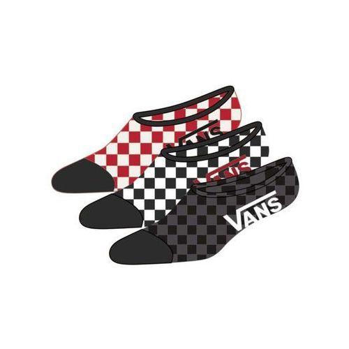 Vans Skarpetki - classic super no show (6.5-9, 3pk) red-white check (rlm) rozmiar: os