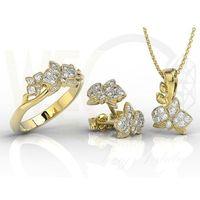 Węc - twój jubiler Zestaw - pierścionek, kolczyki i wisiorek z żółtego złota z brylantami bp-45z-r-zes