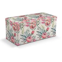 skrzynia tapicerowana, różowe kwiaty na kremowym tle, 90x40x40 cm, new art marki Dekoria