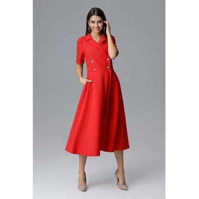 a420db2177 Czerwona rozkloszowana wizytowa sukienka żakietowa