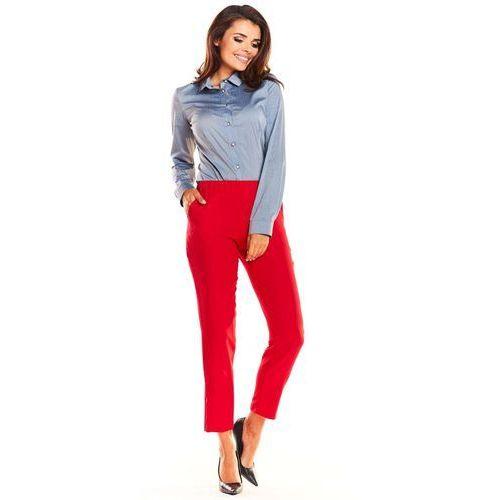 Czerwone Klasyczne Spodnie Damskie na Gumie