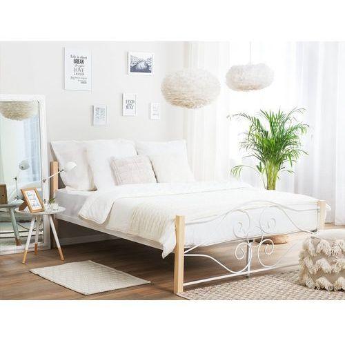 Beliani Metalowe białe łóżko ze stależem jasnobrązowe nogi 160 x 200 cm florange