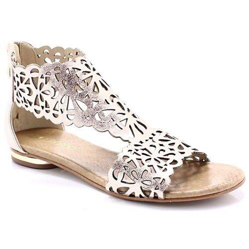 TYMOTEO 2699 MIEDŹ - Płaskie sandały ażurowe - Różowy ||Złoty, kolor różowy