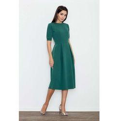 Zielona Sukienka Elegancka Wizytowa Midi, w 4 rozmiarach