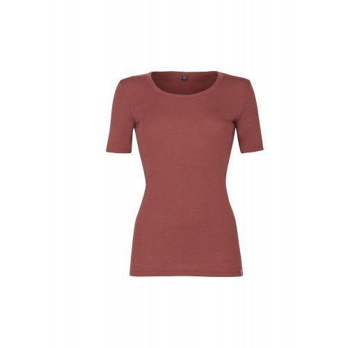 Koszulka damska z wełny merynosów (100%) - krótkie rękawy - cynamonowy róż (prod. DILLING), kolor różowy