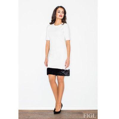 d6d35d096b Figl Ecru elegancka ołówkowa sukienka z futrzaną wypustką MOLLY
