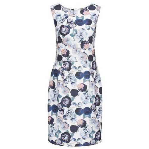 Sukienka neoprenowa bonprix biel wełny w kwiaty