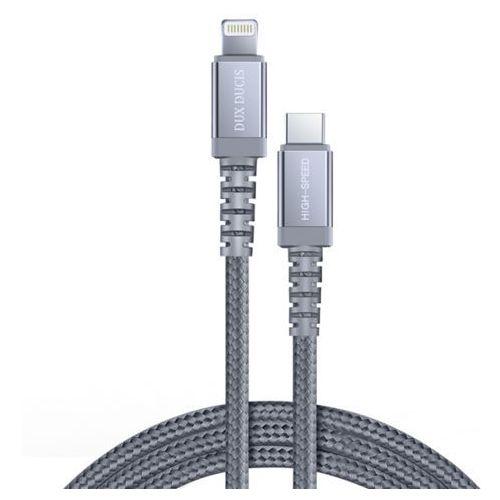 Space MFI wytrzymały nylonowy kabel przewód USB Typ C PD 18W Lightning 1m 3A szary (DUX DUCIS)