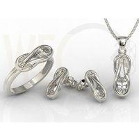 Zestaw: pierścionek, kolczyki i wisiorek z białego złota z białymi szafirami bp-69b-zestaw - białe \ szafir white, kolor biały