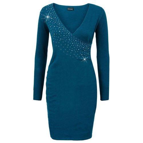 Sukienka dzianinowa z aplikacją ze sztrasów niebieskozielony morski marki Bonprix