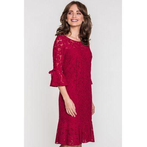 ef0b3c88a Czerwona sukienka z koronki - POZA, kolor czerwony - Zdjęcie Czerwona  sukienka z koronki -