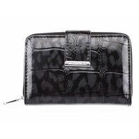 Skórzany portfel damski lakierowany czarny cieniowany średni