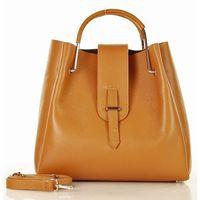 Marco mazzini skórzana torebka designerski kuferek handbag brąz camel