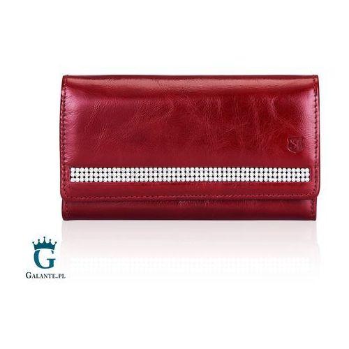 cf967380975fa Duży czerwony portfel damski z kryształkami swarovski sv-070 marki Stefania  leather