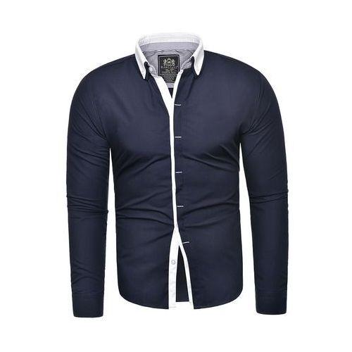 Koszula męska maklerka rl46 - granatowa / biała, kolor niebieski