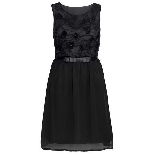 Krótka sukienka wieczorowa z koronkową aplikacją czarny, Bonprix, 34-40