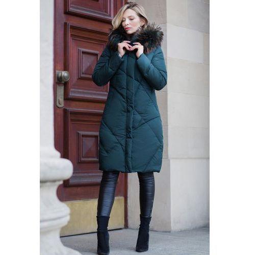 Długa pikowana kurtka z naturalnym futrem z jenota - Perso, 1 rozmiar