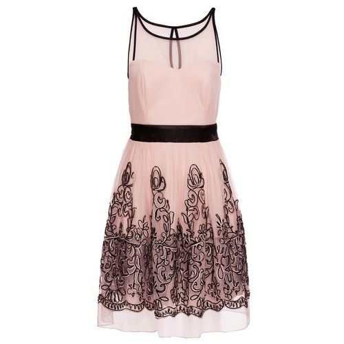 Sukienka koktajlowa bonprix jasnoróżowo-czarny