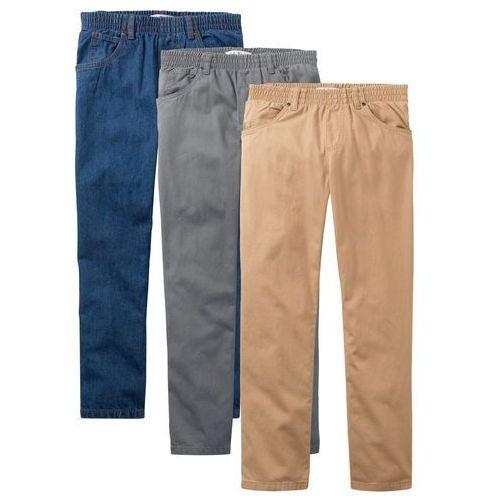 1e994fcc8bb0fa Luźniejsze spodnie z gumką w talii (3 pary) bonprix dymny szary + niebieski