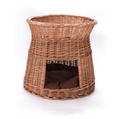 Budka, koci domek okrągły z poduszką na dole Wyroby z wikliny pph jan wnuk