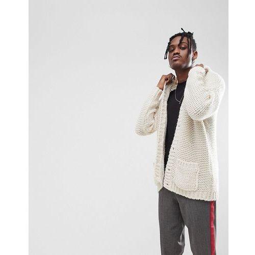ASOS Oversize Cardigan In Mohair Wool Blend - Beige, oversize