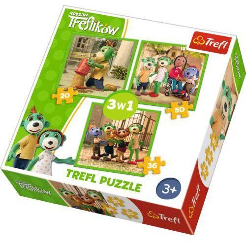 Trefl Puzzle 3w1 rodzina ików - zabawy treflików