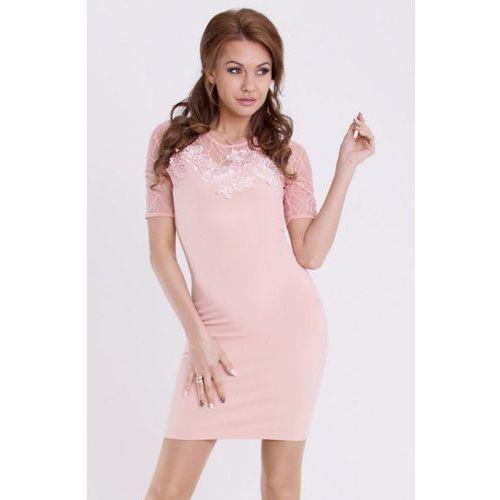 Sukienka - brzoskwiniowy 13006-1 Emamoda
