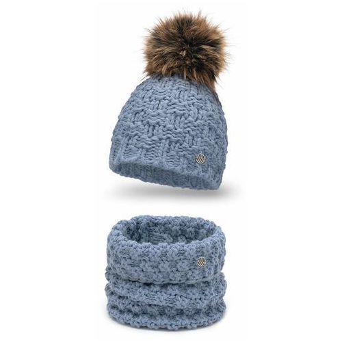 Komplet damski o grubym splocie- czapka i komin PaMaMi - Jeansowy (5902934087926)