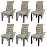 Vidaxl  zestaw 6 krzeseł jadalnianych z lnianą tapicerką, beżowe (8718475861485)