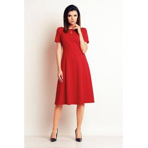 63f38ef66a Czerwona Wizytowa Sukienka Midi z Krótkim Rękawem