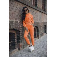 wygodny dres krótka bluza z kapturem i wąskie spodnie - pomarańczowy