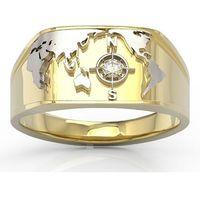 Węc - twój jubiler Sygnet morski z żółtego i białego złota z brylantem sj-1406zb - żółte i białe