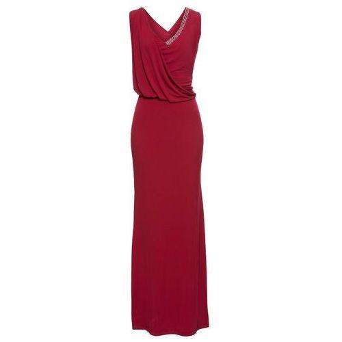Sukienka wieczorowa ze sztrasami ciemnoczerwony, Bonprix, 32-50