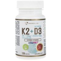 Tabletki Progress Labs Witamina K2 VitaMK7 100 mcg + D3 50 mcg - 120 tabletek