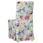 sukienka na krzesło henriksdal długa, kolorowe kwiaty na białym tle, krzesło henriksdal, monet marki Dekoria