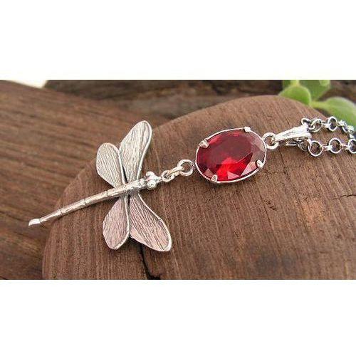 7a00d0386e7755 WAŻKI - srebrny wisiorek z rubinem, kolor czerwony - Fotografia produktu