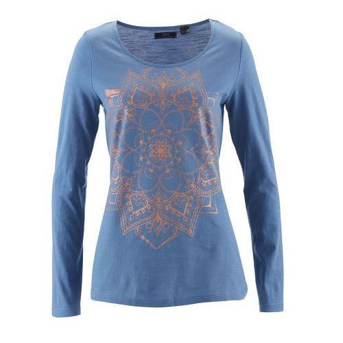Shirt z przędzy mieszankowej, długi rękaw niebieski dżins marki Bonprix