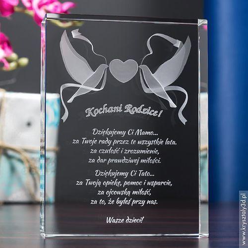 Pamiątka Ślubu Gołąbki Miłości 3D z Twoją dedykacją • GRAWER 3D