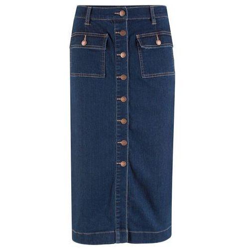 Spódnica dżinsowa ze stretchem midi bonprix ciemnoniebieski, kolor niebieski
